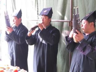 The shengguan group, 2011: left to right Li Bin, Wu Mei, Yang Ying.