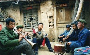 Yangjiagou funeral 1999 https://stephenjones.blog/2017/03/14/walking-shrill-shawm-bands-in-china/