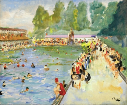 painting of pool